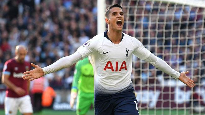 Lamela celebra un gol con el Tottenham