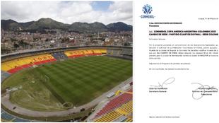 Estadio El Campín de Bogotá y el comunicado de Conmebol