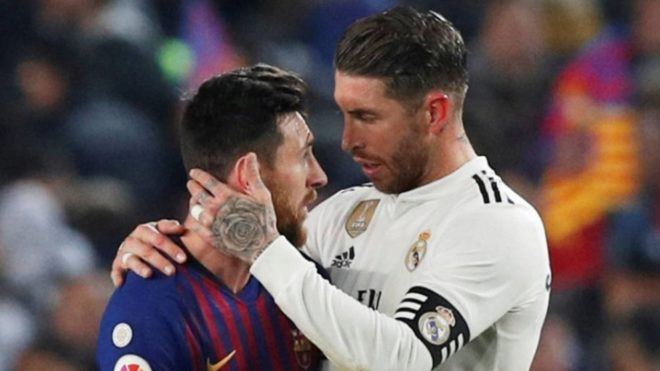 Sergio y Ramos, durante un Real Madrid vs Barcelona