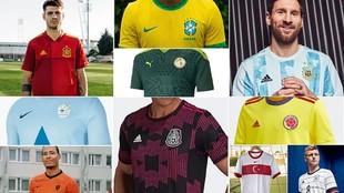 Collage de las diferentes camisetas de selecciones