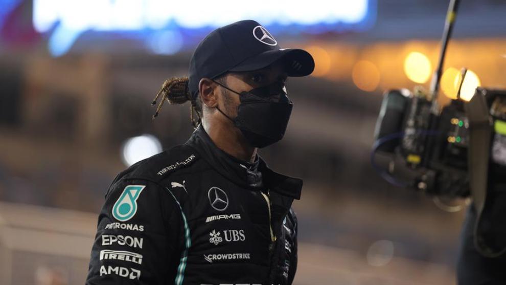 Lewis Hamilton, tras la clasificación en Bahréin.