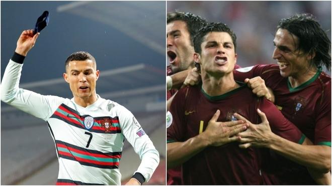 CR tira la cinta de capitán y en la otra imagen festeja un gol con...