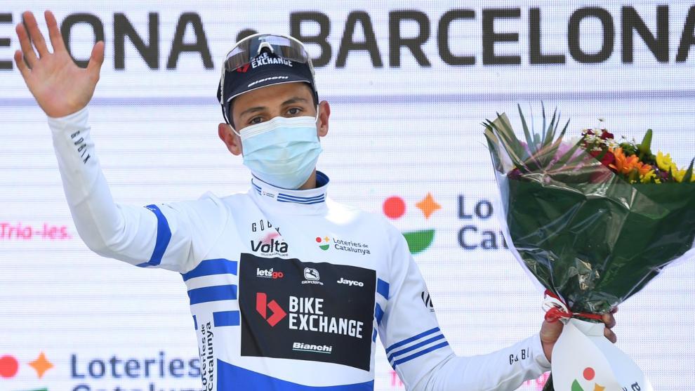 Esteban Chaves, en la premiación de la Volta a Catalunya.