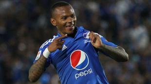 Andrés 'Manga' Escobar celebra un gol con Millonarios.
