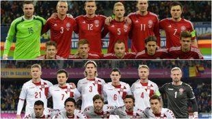 Dos formaciones de Dinamarca en diferentes partidos.