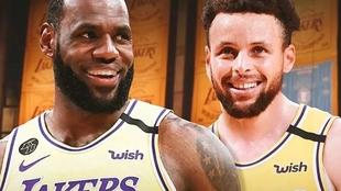 Montaje con LeBron y Curry con la camiseta de los Lakers.
