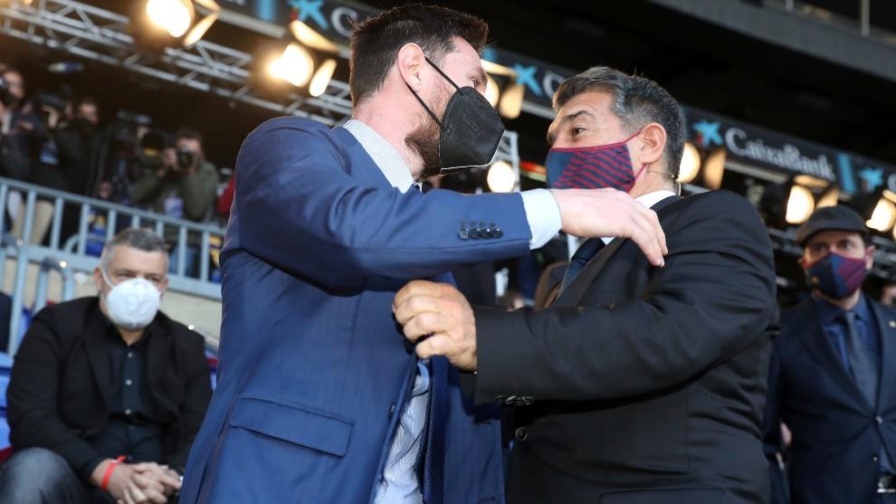 Messi y Joan Laporta, presidente del Barcelona