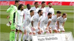 Un once del Real Madrid durante un partido de la Liga española.