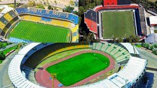 Los estadios del Gigante de Arroyito, a la izquierda, el Marcelo...