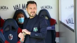 Roberto de Zerbi, técnico del Sassuolo, durante un partido en la...