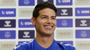 James Rodríguez, en su primera rueda de prensa en el Everton.
