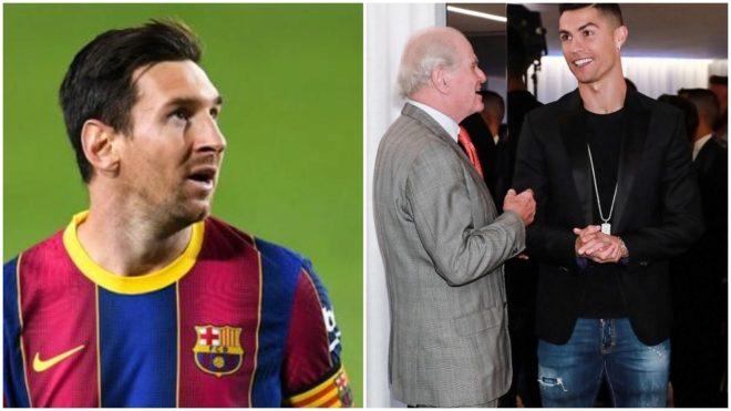 Los tres portagonistas: Messi, Ramón Calderón y Cristiano Ronaldo.