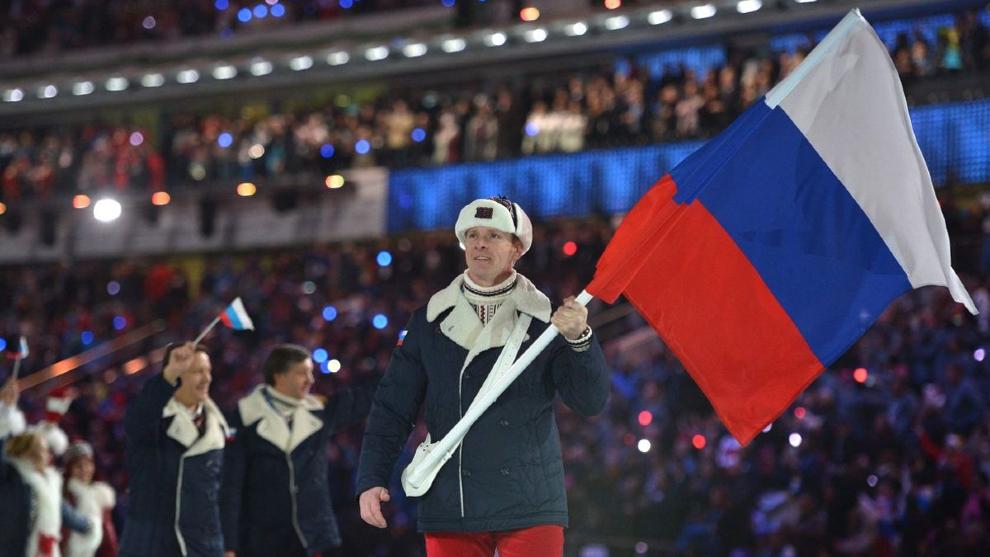 Deportistas y técnicos del equipo ruso en los Juegos Paralímpicos de...