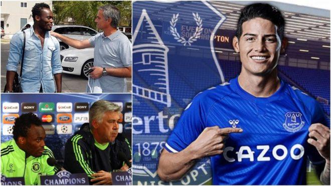 Essien con Mourinho y Ancelotti y James, con la imagen de su...