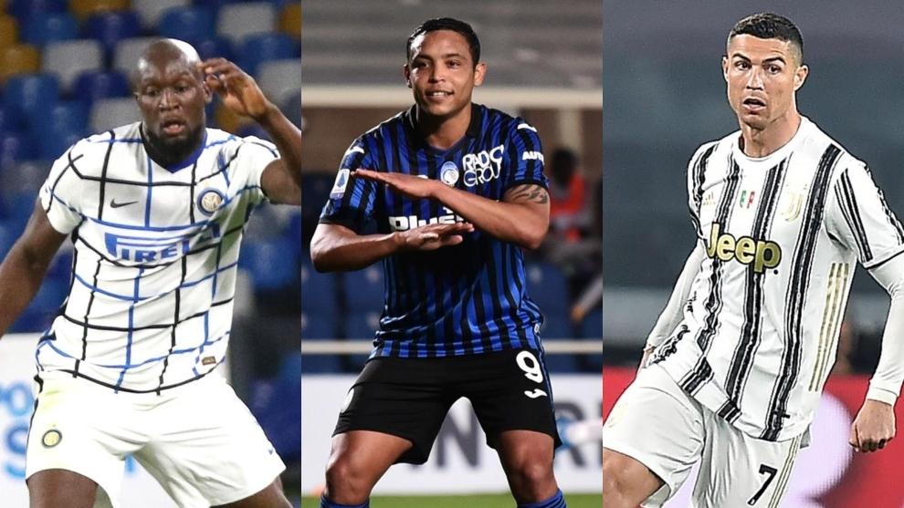 Collage de Lukaku, Muriel y Cristiano Ronaldo con la camiseta de sus...