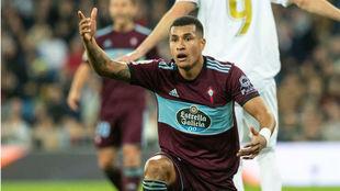 Jeison Murillo gesticula durante un partido con el Celta en el...