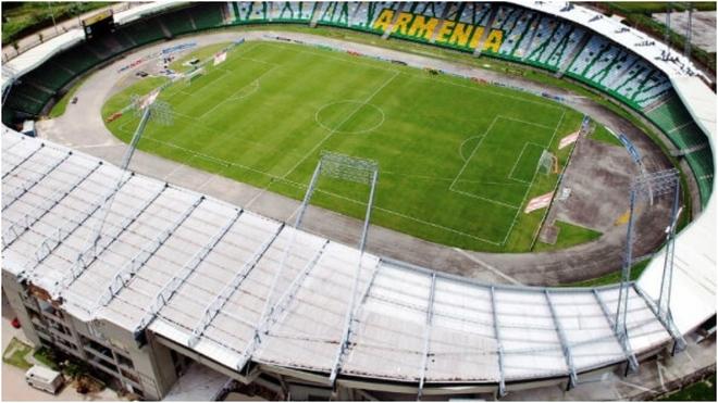 Imagen aérea del estadio Centenario, de Armenia.