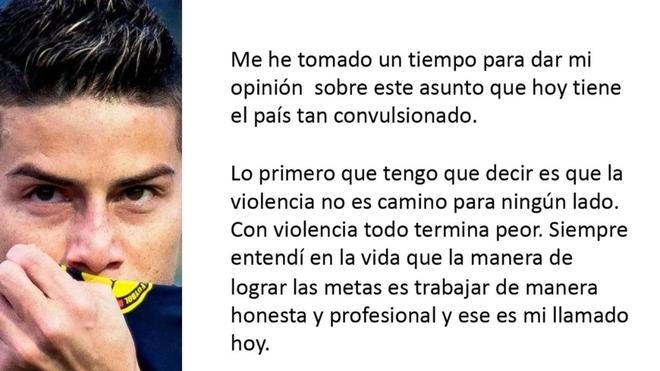 Mensaje de James Rodríguez por la actualidad en Colombia.
