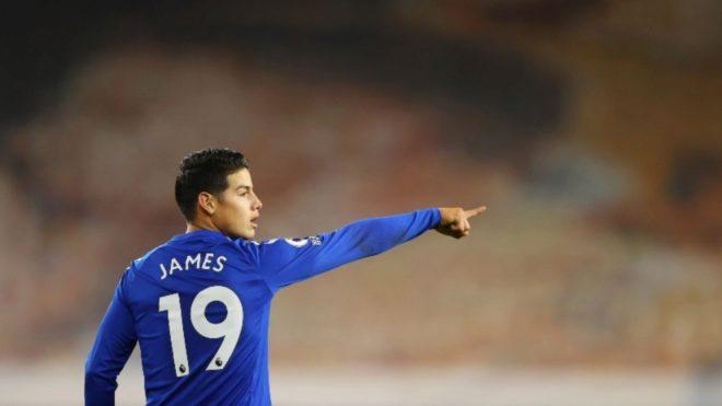 James Rodríguez, durante un partido con el Everton