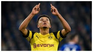 Jadon Sancho celebra un gol con el Dortmund