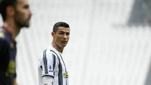 Cristiano, durante un partido con la Juve