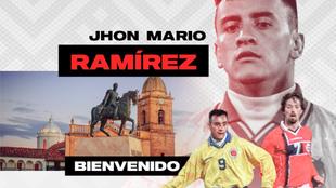 Póster de bienvenida de Jhon Mario Ramírez a Patriotas.