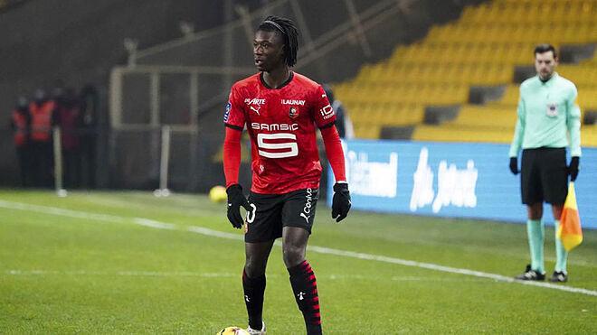 Camavinga, durante un partido con el Rennes
