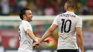 Valbuena y Benzema en la selección de Francia.