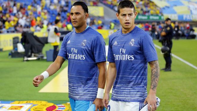 Keylor y James en su etapa en el Real Madrid
