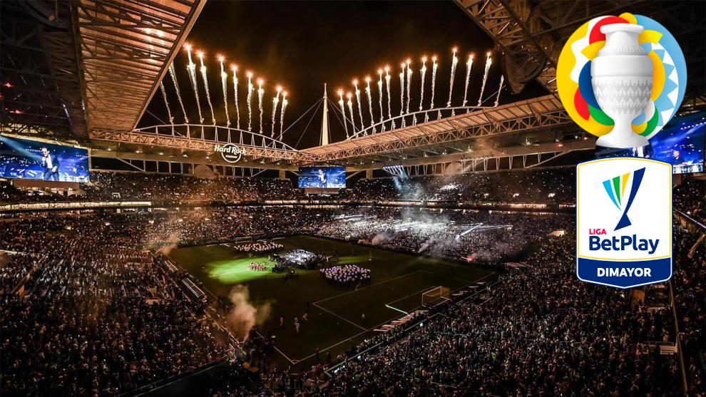Hard Rock Stadium de Miami, con los logos de Copa América y Liga...