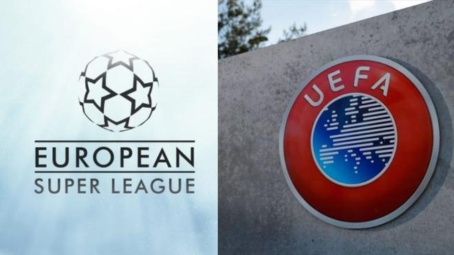 La imagen de la Superliga europea y una pared de la sede de la UEFA.