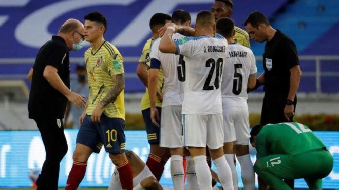 James, ante Uruguay, el día que sufrió la dura derrota en Colombia