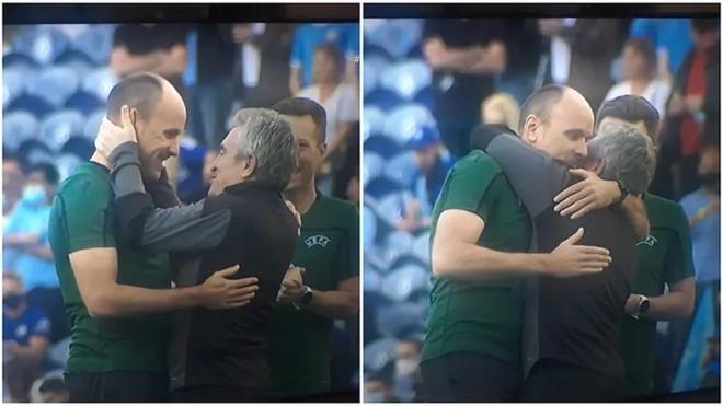 El abrazo entre Mateu Lahoz y Lillo antes de la final de la Champions...