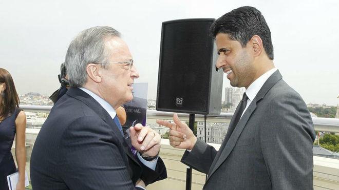 Florentino charla con Al Khelaifi