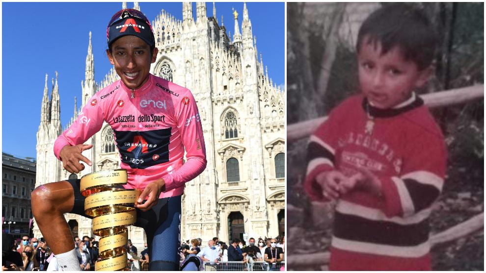 Collage de Egan Bernal como campeón del Giro de Italia y en su...