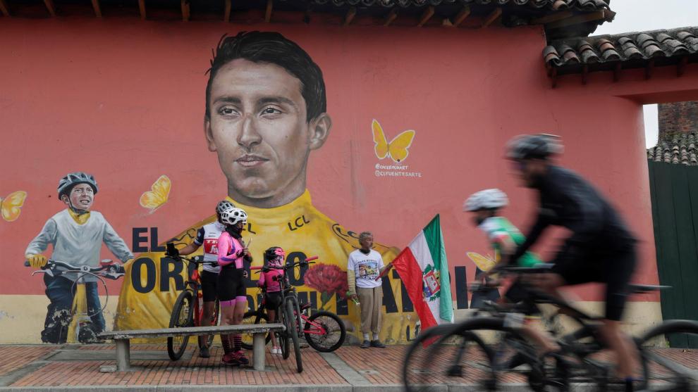 Mural en honor a Egan Bernal en Zipaquirá.