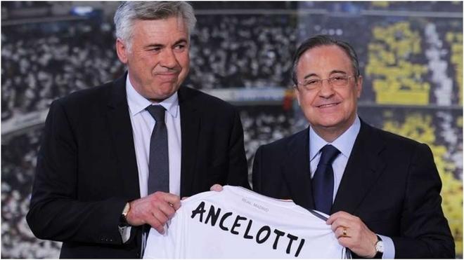 Ancelotti y Florentino Pérez sonríen cuando el italiano fue...