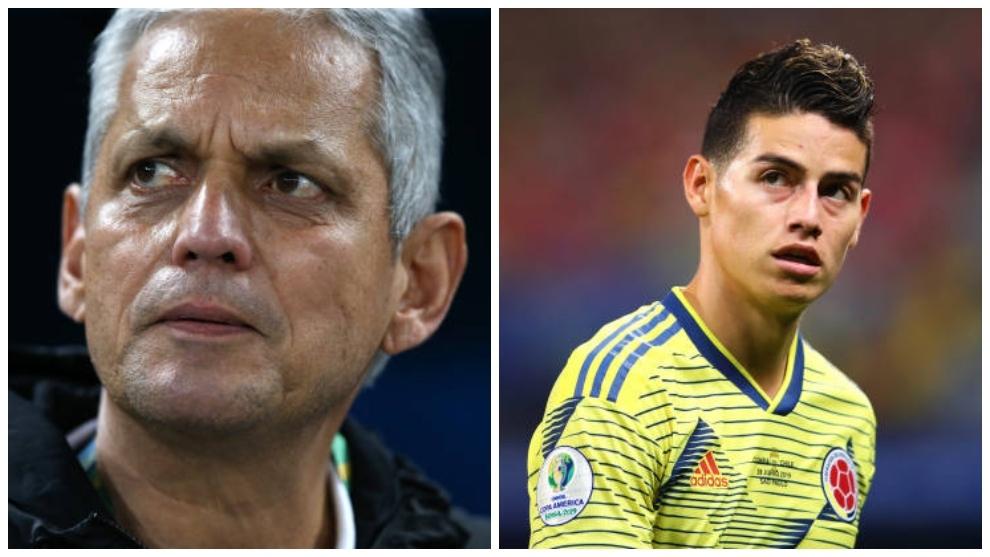Reinaldo Rueda (izquierda) y James Rodríguez (derecha).