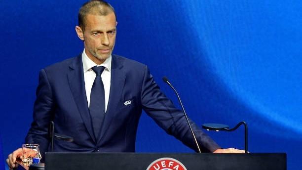 Aleksander Ceferin (53) durante un discurso en la sede de la UEFA
