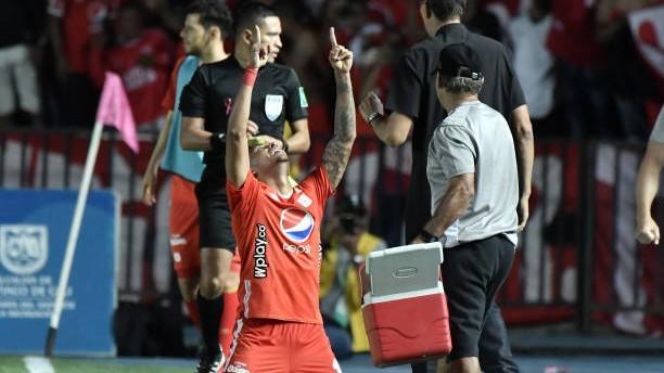 Duván Vergara (24) celebra un gol ante Atlético Nacional.