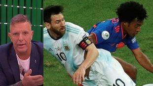 Fantino, a la izquierda, Messi y Cuadrado en una foto de archivo.