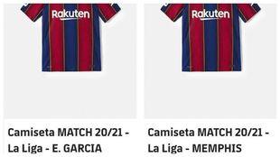 La camiseta de Depay, a la venta en la web del Barça.