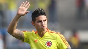 James Rodríguez, en un partido con Colombia.