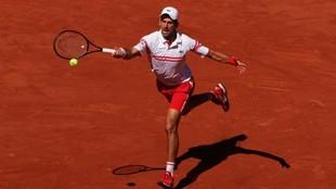Novak Djokovic (34) golpea a la pelota en la final de Roland Garros...