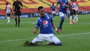 El festejo de Uribe tras el segundo tanto en El Campín.