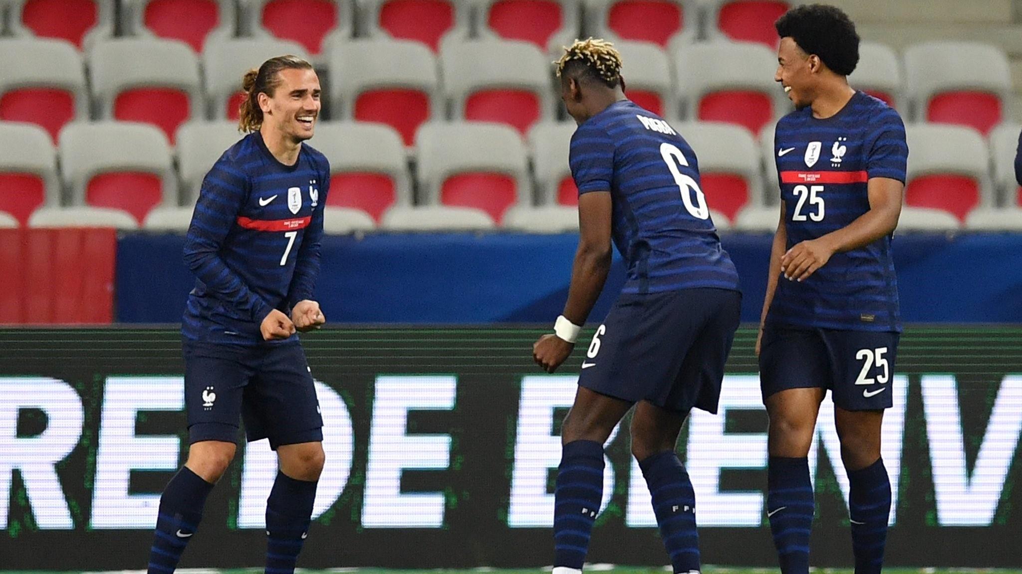 Antoine Griezmann (30) celebra un gol con la selección francesa.