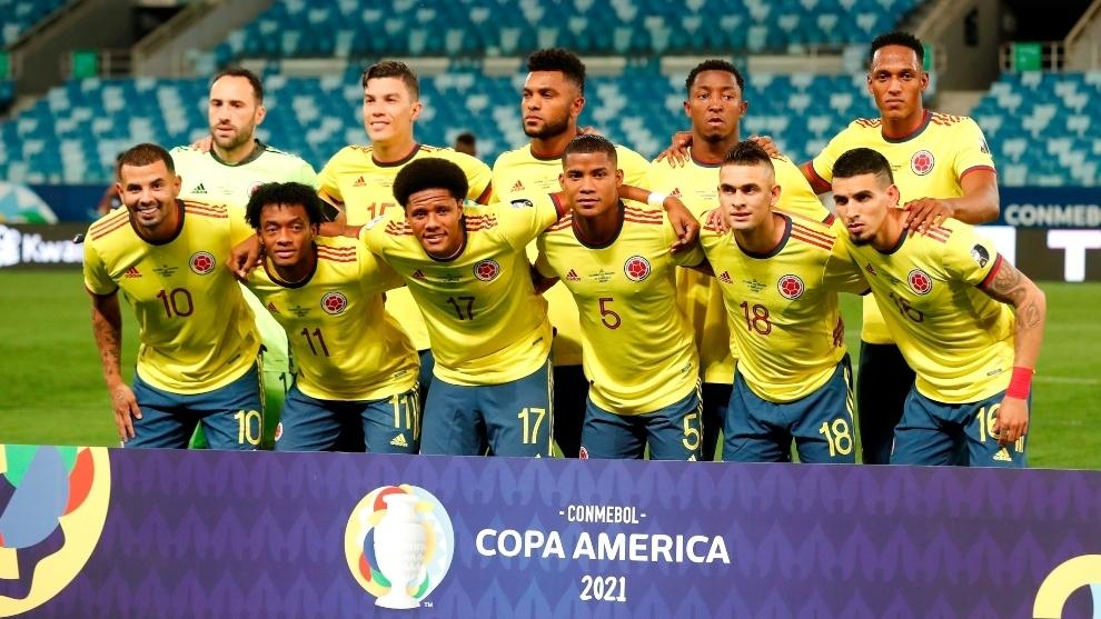 Jugadores de Colombia, antes de un partido.