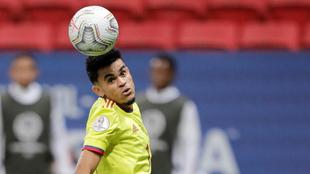Luis Díaz, en un partido con la Selección Colombia.