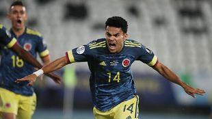 Luis Díaz celebra un gol a Brasil