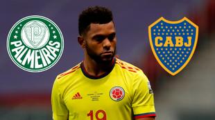 Miguel Ángel Borja y los escudos de Palmeiras y Boca Juniors.